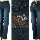 BQB - Ladies 5 Pocket Stretch Jeans with Rear Flower Patch-Single Pair-Size 11