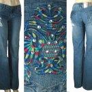 LJ 777 - Ladies Worn Look Riveted Stretch Jeans -Single Pair-Size 15
