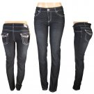 """F & F"" - Junior Skinny Stretch Dark Blue Denim Embroidered Jeans-Single Pair-Size 4"