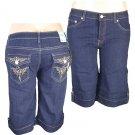 """Xpress Jeans""-Junior Stretch Navy Blue Denim Bermuda Shorts-Single Pair-Size 15"
