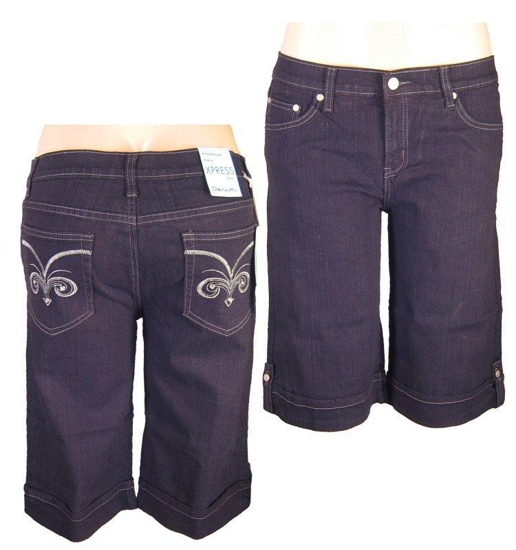 """Xpress Jeans""-Junior Stretch Black Denim Bermuda Shorts-Single Pair-Size 9"