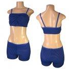 """Biki Active""-Junior Stretch Striped Top and Boy Shorts Bikini Set-Single Pair-Size Medium"