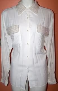 Express Ladies L/3 White Blouse Embellished Pearl Collar