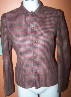J.G. Hook Ladies 6 Blazer Red Plaid Design