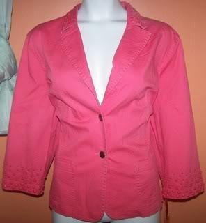 Ladies New 20W Blazer Embellished Coral Collar