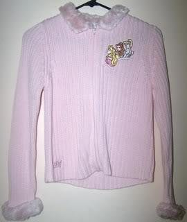 Ladies L Cardigan Sweater Pink Zipper Front Disney Princess