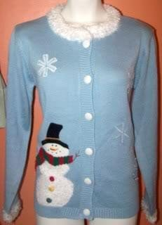 Ladies M Cardigan Sweater Snowman Snowflakes Light Blue