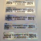1000 WARRANTY VOID DOGBONE LABELS STICKERS W/NUMBERING