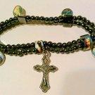 Religious Hematite Charm Bracelet