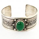 tibetan jewelry bracelets cuff carved  with  flower natural stone green
