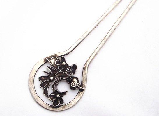 miao silver jewelry hairpin buautiful flower