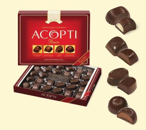 """""""Allsorts Roshen dark chocolate"""" 215 g.- Chocolate in Gift box"""