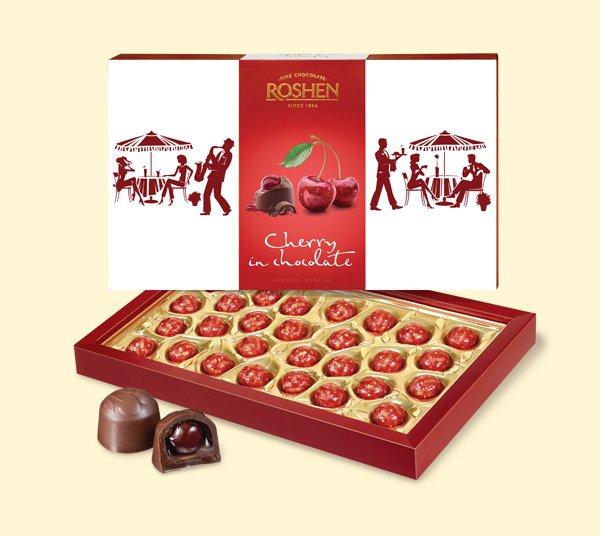 """""""Cherry in chocolate, �hocolates Roshen"""" 157 g.- Chocolate in Gift box"""