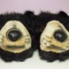 SLIPPERS HAPPY FEET BLACK BEARS PLUSH CRITTER SUPER SOFT SIZE UNISEX SIZE MEDIUM NEW HOUSE SLIPPERS