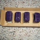 NO FREE SHIPPING-LONGABERGER POTTERY EGGPLANT PURPLE NAPKIN RINGS~NEW