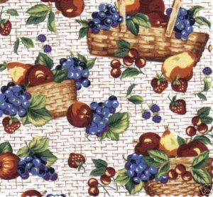 1 YARD LONGABERGER FRUIT & BASKETS FABRIC ~NEW