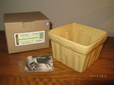NO FREE SHIPPING-LONGABERGER POTTERY SQUARE BERRY BOWL~BUTTERNUT~NEW IN BOX