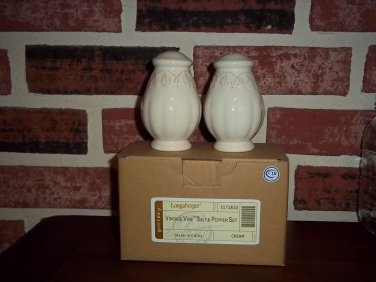 NO FREE SHIPPING-LONGABERGER SALT & PEPPER SET~CREME VINTAGE VINE~NIB