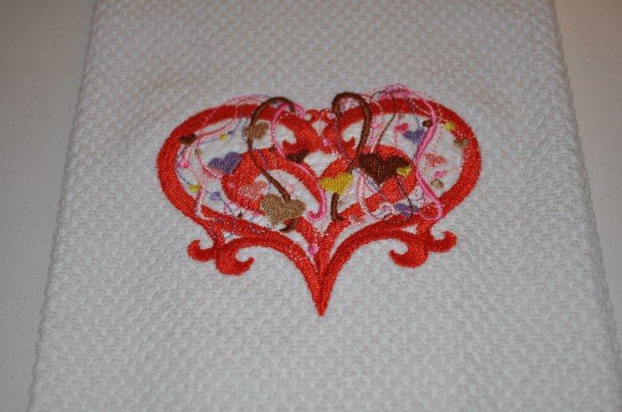 """Spangled Hearts"" Valentines Day Kitchen Dishtowel"