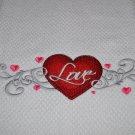 """Love-ly Filigree Heart"" Valentines Day Kitchen Dishtowel"