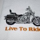 """Live To Ride"" Motorycycle Kitchen Dishtowel"