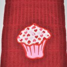 """Candied Hearts Cupcake"" Applique Valentines Day Kitchen Dishtowel"