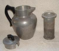 FRENCH STYLE WAGNER WARE ALUMINUM COFFEE POT W/BASKET