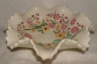 Hand Painted Ruffled Floral Plate Signed & Dated 1958