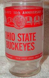 VINTAGE 1972 OHIO STATE BUCKEYES 50TH ANNIVERSARY GLASS