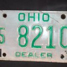 "1970'S OHIO ""DEALER"" LICENSE PLATE GREEN ON WHITE 5 8210"
