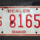 "1970'S OHIO ""DEALER"" LICENSE PLATE RED ON WHITE  6 8165"