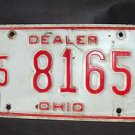 "1970'S OHIO ""DEALER"" LICENSE PLATE RED ON WHITE  5 8165"