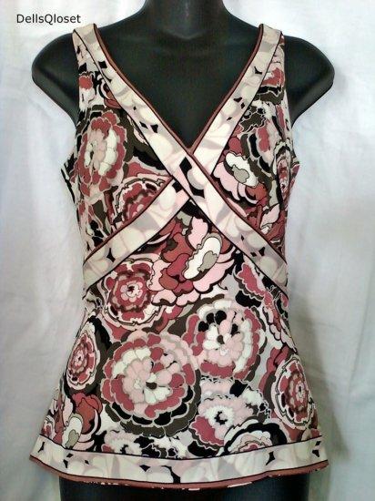 ****SOLD***ELIE TAHARI Pink Floral Silk Top - Size Medium