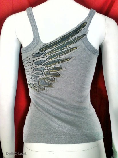 MISS SIXTY Gray Tank Top With Wing Logo Applique - Size Medium