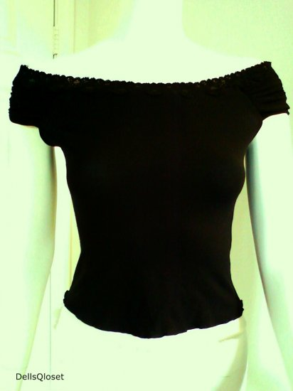 *SOLD*BEBE Black and White Off-Shoulder Stretch Top - Size Medium