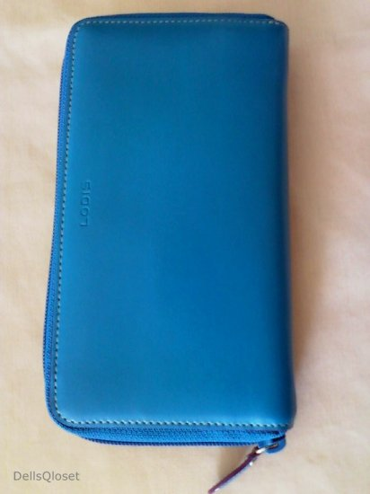 *NWT* LODIS (Nordstrom) Audrey Zip Around Clutch Wallet w/ Removable ID Holder - Sky Blue & Plum