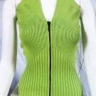 CACHE Lime/Chartreuse Ribbed Knit Zippered V-Neck - Size Medium