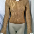 XOXO Gold Notch-Collar Long Sleeve Knit - Size Medium