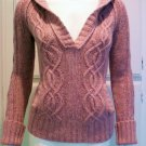AMERICAN EAGLE OUTFITTERS Pink Tweed V-Neck Sweater - Size Medium