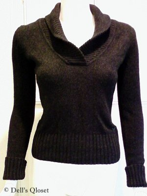 AMERICAN EAGLE OUTFITTERS Dark Grey/Charcoal Shawl Collar Sweater - Size Small/Petite