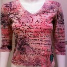 GLIMA Pink Graphic Design V-Neck 3/4 Sleeve Top - Size Smal