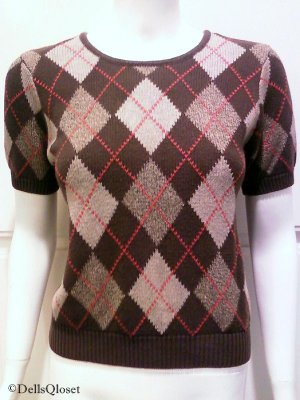 GAP Brown Short Sleeve Argyle Sweater - Size Small
