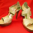 STUART WEITZMAN $365 Nude Patent Leather TEENY Platform Strappy Heels - Size 8US