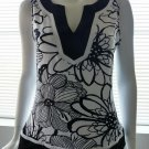 CACHE Black & White Floral Print Sleeveless Top- Size Large