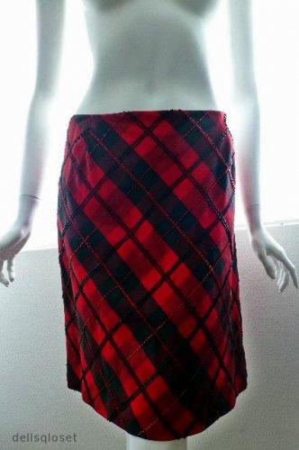 CHETTA B EVENING - *Beautiful* Red & Black Beaded Plaid Skirt - Size 6