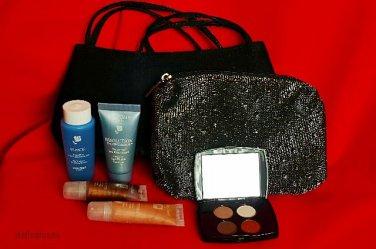 7PC LOT - LANCOME Deluxe Gift Set Eyeshadow Lip Gloss Bi-Facil... + Evening Bag