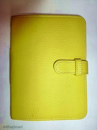 "RAIKA Yellow Pebbled Leather Personal Journal Blank Ruled Book 6.5"" x 4.75"""