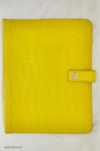 """***SOLD*** LODIS Bright Yellow Croc-Embossed Leather iPad Tablet Case Cover - 9.5"""" x 7.5"""""""