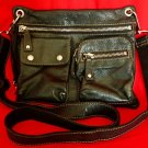 "FOSSIL Black Pebbled Leather ""Sutter"" Crossbody Messenger Shoulder Bag"