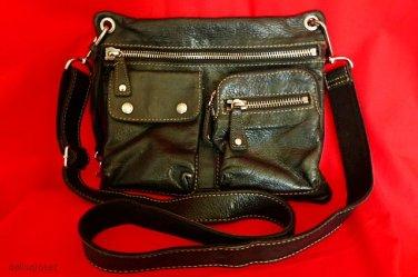 """FOSSIL Black Pebbled Leather """"Sutter"""" Crossbody Messenger Shoulder Bag"""